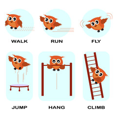 verb word vector background for preschool.verb set (walk run fly jump hang climb).vector illustration.
