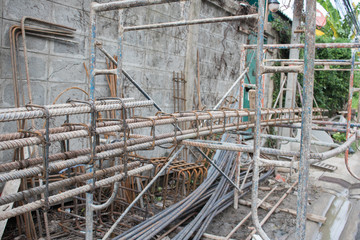 reinforcing bar on construction site