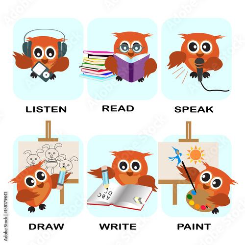 Verb Word Vector Background For Preschool Verb Set Listen Read Speak
