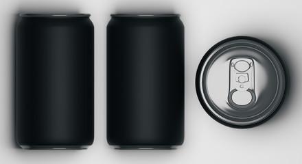 Black beverage cans