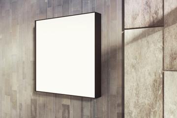 Empty square whiteboard
