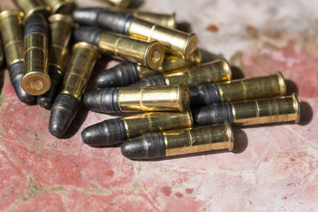 Many ammunition bullets. 22 LR for long rifle