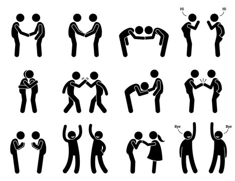 People Meeting and Greeting Gestures Etiquette . Artwork depicts people handshake, holding hand, bowing, fist bump, hugging, kissing hand, namaste, and saying good bye.