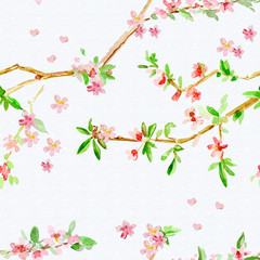 retro seamless texture with almond blossom flowering twig. water