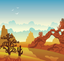 Desert landscape. Cactuses and mountains.