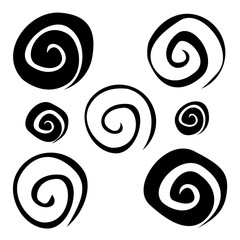 Set of randomly curved spiral shapes