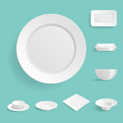 Empty white plates set isolated vector illustration templates dinner design blank clean tableware