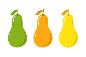 Pears of different ripeness. Vector illustration