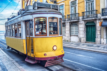 Lisbon, Portugal: the tram in the old town at sunrise