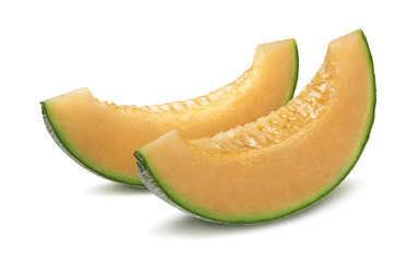 2 cantaloupe melon pieces isolated