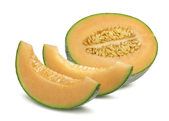 Cantaloupe melon and pieces horizontal isolated on white