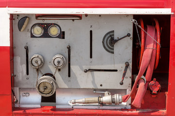 Equipment in a old fire truck