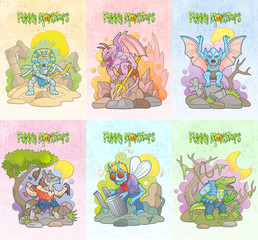 Cartoon monsters set of images