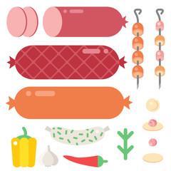 Meat products ingredient and rustic elements preparation equipment food flat vector illustration.