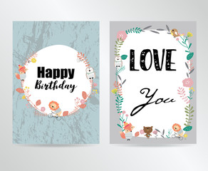Colorful greeting card with bear,flower,leaf and plant