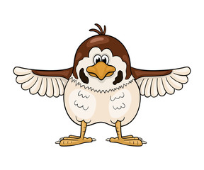 Funny cartoon sparrow  with wings widely spreading out