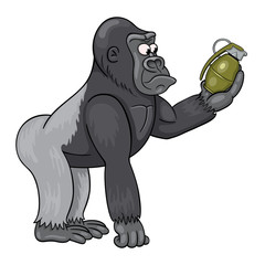 Cartoon male of gorilla  in perplexity is looking at the grenade in his hand. Funny cartoon character