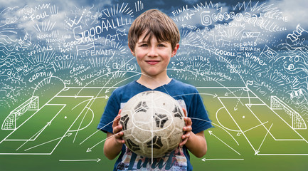 Young boy holding a soccer ball and scheme strategy of soccer game on backdrop