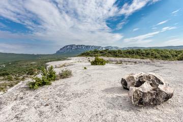un plateau de calcaire aride au milieu de la nature avec une montagne en arrière plan