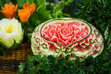 Close up of carved watermelon.