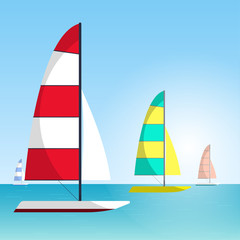 Floating boat Vector illustration Four multi colored sailboats are sailing on the sea Water sports Cartoon style