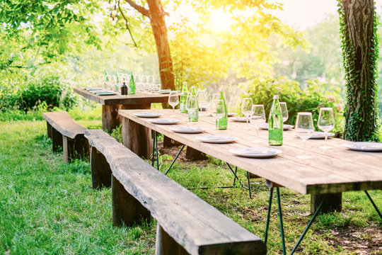 Table is set and waiting for dining in countryside