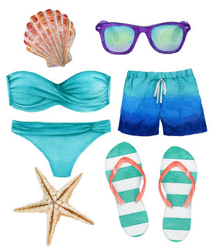 Set of watercolor illustrations of the beach accessories: swimsuit, shorts, sunglasses, slippers, starfish, shell