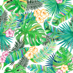 Watercolor Tropical Leaves and Flowers Pattern