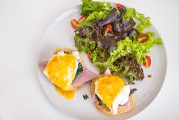 Breakfast ham, egg bread and salads