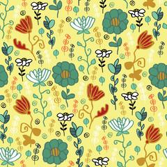 Stylized flowers on a yellow background. Seamless pattern.
