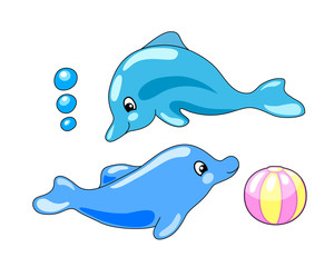 Cute dolphins with playing ball vector illustration in cartoon style.