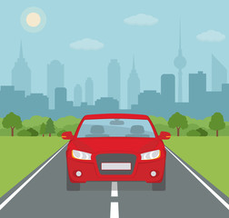 Picture of car on the road with city silhouette on background. Flat style, vector illustration.