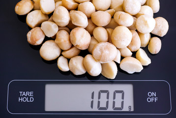 Macadamia nuts on digital scale