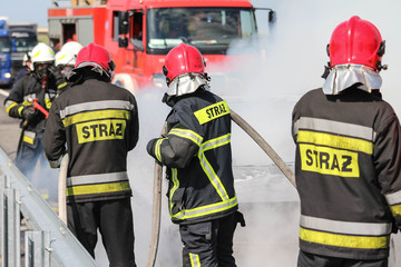 Polish firefighters / fire brigade in action
