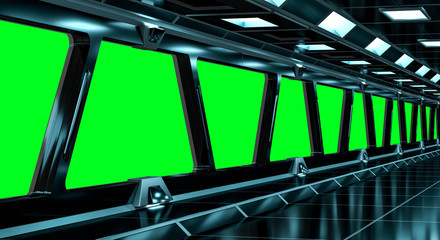 Spaceship black corridor 3D rendering