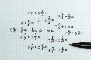 The problem in mathematics is help me. Top view.