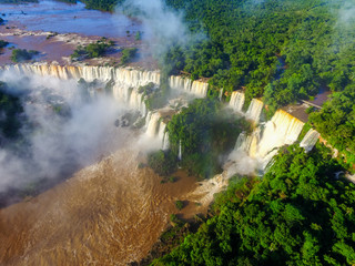 Largest waterfall in the world. Rare aerial image of Iguazu Falls