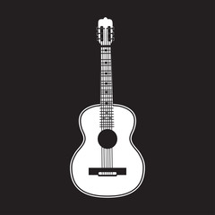 Vector illustration of classic guitar in flat style