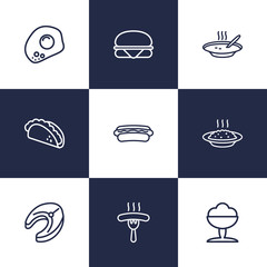 Set Of 9 Food Outline Icons Set.Collection Of Sandwich, Raw Fish, Mexican Food Elements.