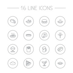 Set Of 16 Dish Outline Icons Set.Collection Of Mexican Food, Steak, Hotdog And Other Elements.