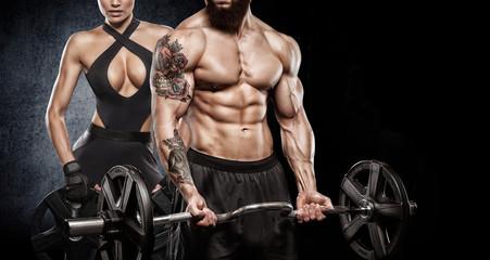 Atrakcyjny, wysoki, muskularny kulturysta, ciężki, deadlifts, w, moder, centrum fitnesu.