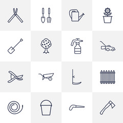 Set Of 16 Farm Outline Icons Set.Collection Of Plant Pot, Hatchet, Secateurs And Other Elements.