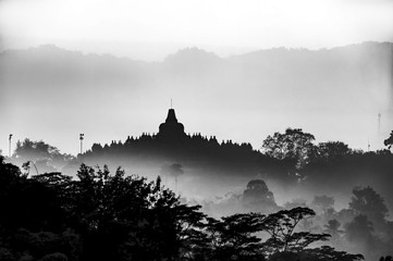 Borobudur foggy morning