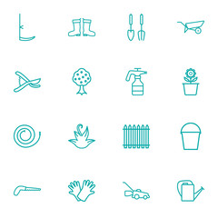 Set Of 16 Horticulture Outline Icons Set.Collection Of Pail, Barrow, Secateurs And Other Elements.