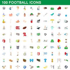 100 football icons set, cartoon style