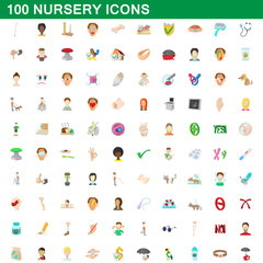 100 nursery icons set, cartoon style