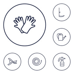 Set Of 6 Farm Outline Icons Set.Collection Of Firehose, Scythe, Safer Of Hand Elements.