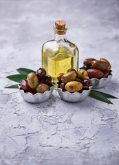 Bowls with different Mediterranean olives