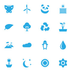 Set Of 16 Ecology Icons Set.Collection Of Bloom, Overcast, Solar Panel And Other Elements.