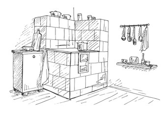 Tiled stove in a corner. Vector illustration of a sketch style.